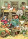 TAURUS-KUNSTKARTEN Frauen im Hühnerstall  - Inge Löök Postkarte