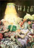 TAURUS-KUNSTKARTEN Frauen lesen im Sessel - Inge Löök Postkarte