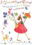 GOLLONG Lebe jedes Jahr... / Frau mit Schirm + Blumen - Mila Marquis Postkarte