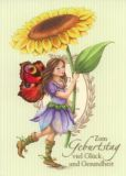 GOLLONG Zum Geburtstag / Elfe mit Sonnenblume - Nina Chen Postkarte