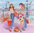 GOLLONG Frauen beim Shopping in Paris - Cartita Design Postkarte