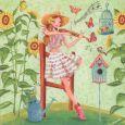 GOLLONG Frau mit Violine und Sonnenblumen - Cartita Design Postkarte