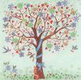 GOLLONG Baum mit Vögeln und Herzen - Cartita Design Postkarte