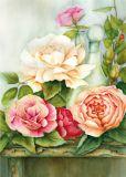 FLORIS Rosen mit Flasche Postkarte