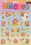 Teddybären mit Sonnenblumen - Stickerbogen
