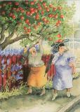 TAURUS-KUNSTKARTEN Frauen schütteln Äpfel - Inge Löök Postkarte
