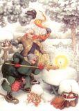 TAURUS-KUNSTKARTEN Frauen mit Kerze im Schnee - Inge Löök Postkarte