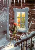TAURUS-KUNSTKARTEN Zwerg auf Stelzen vorm Fenster - Inge Löök Postkarte