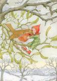 TAURUS-KUNSTKARTEN Rotkehlchen + Fee  - Molly Brett Postkarte