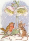 TAURUS-KUNSTKARTEN Rotkehlchen + Maus mit Weihnachtsrose - Molly Brett Postkarte
