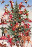 ROGER LA BORDE Elves Christmas Glitzer Postkarte