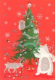 ROGER LA BORDE Animal Forest Xmas Glitzer Postkarte