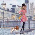GOLLONG Frau mit Hund - Cartita Design Postkarte