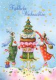 GOLLONG Fröhliche Weihnachten / Engel mit Muffin - Nina Chen Postkarte