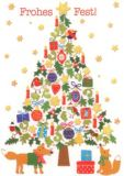 GOLLONG Frohes Fest / Tannenbaum mit Tieren  - Carola Pabst Postkarte
