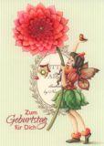 GOLLONG Zum Geburtstag / Elfe mit Dahlie - Nina Chen Postkarte