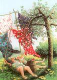 TAURUS-KUNSTKARTEN Frauen liegen im Gras - Inge Löök Postkarte