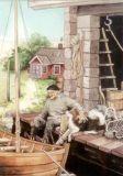 TAURUS-KUNSTKARTEN Mann mit Hund am Bootshaus - Inge Löök Postkarte