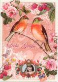 TAUSENDSCHÖN Liebe Grüße / Vögel mit Rosen + Beeren Postkarte