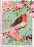 TAUSENDSCHÖN Rotkehlchen mit Krone Postkarte