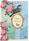 TAUSENDSCHÖN Vielen Dank / Vogel mit Rosen Postkarte