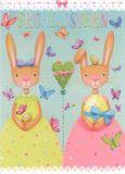 GOLLONG Frohe Ostern / Zwei Hasen - Mila Marquis Postkarte