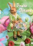 GOLLONG Frohe Ostern / Hasenfrau - Martina Carmasino Postkarte