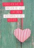 GWBI Menschen wie du / Herz auf grüner Wand - Lebenskunst Postkarte